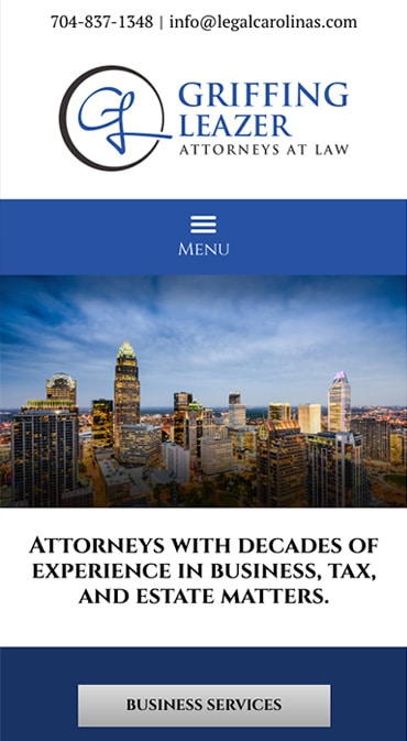 Responsive Mobile Attorney Website for Griffing Leazer, PLLC