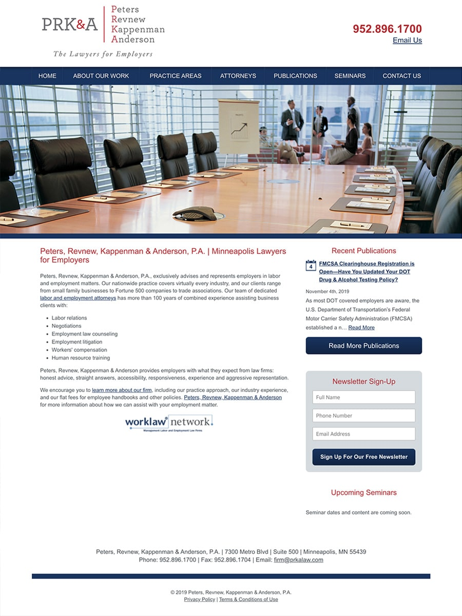 Law Firm Website Design for Peters, Revnew, Kappenman & Anderson, P.A.