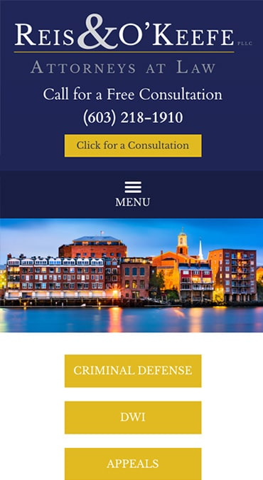 Responsive Mobile Attorney Website for Reis & O'Keefe