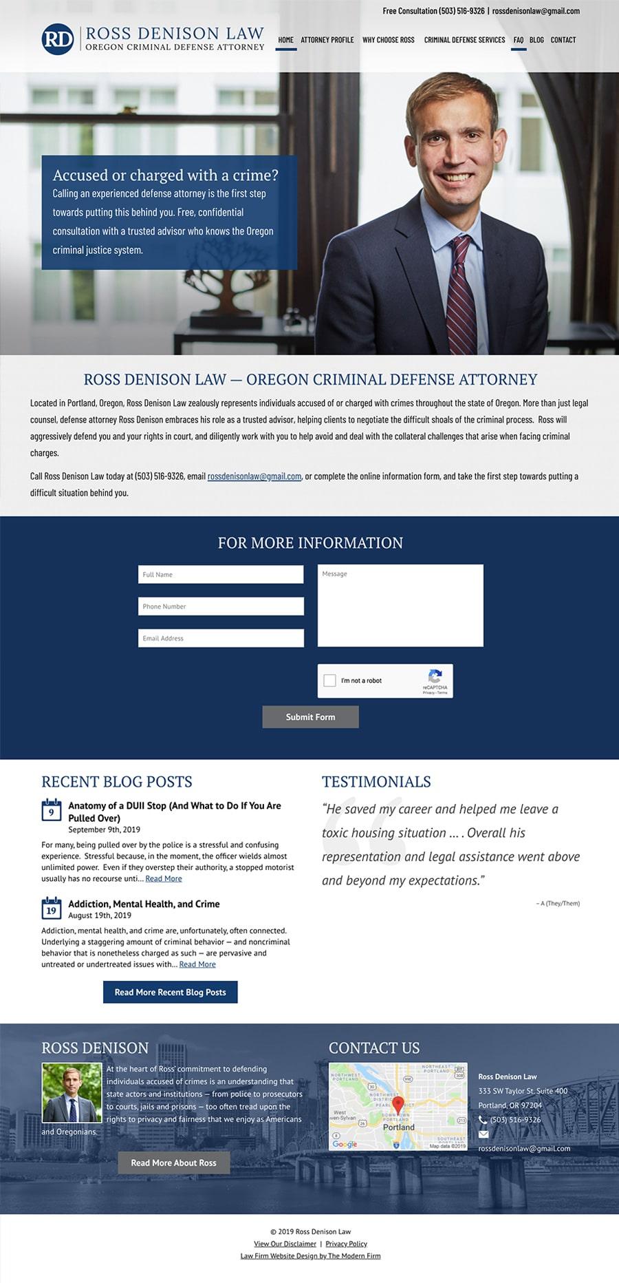 Law Firm Website Design for Ross Denison Law