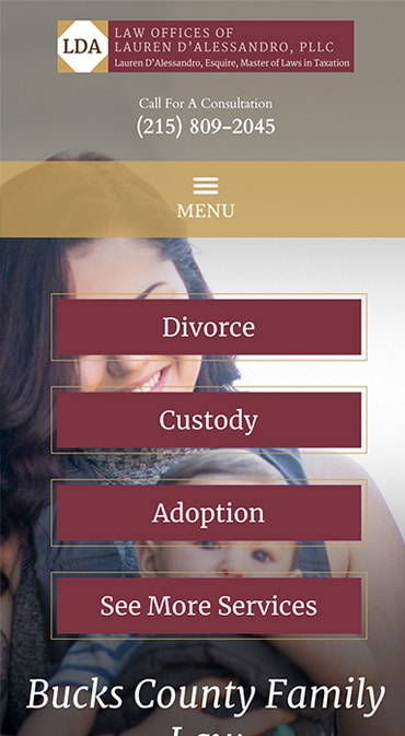 Responsive Mobile Attorney Website for Law Offices of Lauren D'Alessandro, PLLC