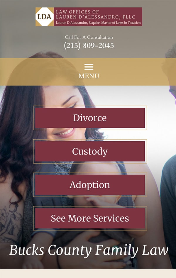 Mobile Friendly Law Firm Webiste for Law Offices of Lauren D'Alessandro, PLLC