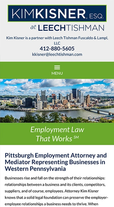Responsive Mobile Attorney Website for Kim Kisner ESQ. at Leech Tishman