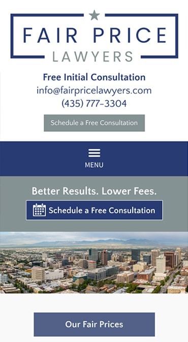 Responsive Mobile Attorney Website for Fair Price Lawyers