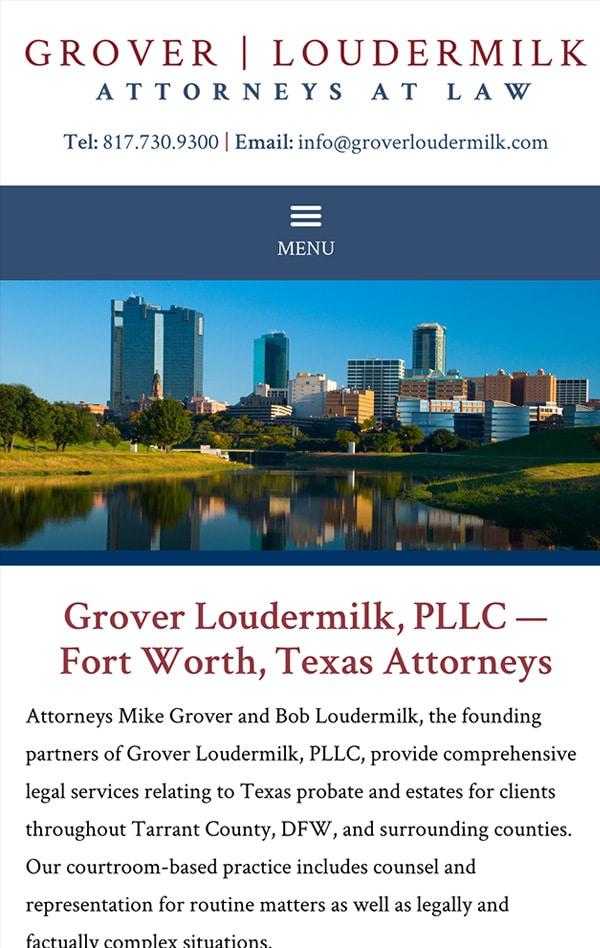 Mobile Friendly Law Firm Webiste for Grover Loudermilk, P.L.L.C.