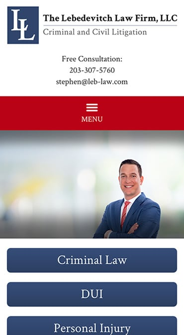 Responsive Mobile Attorney Website for The Lebedevitch Law Firm, LLC