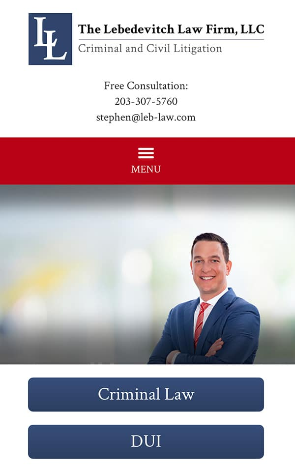 Mobile Friendly Law Firm Webiste for The Lebedevitch Law Firm, LLC