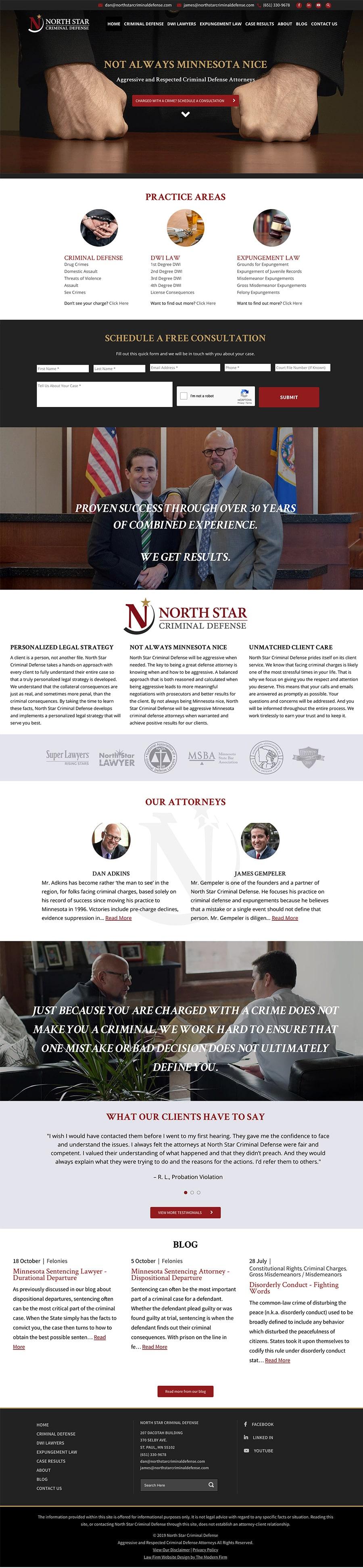 Law Firm Website Design for North Star Criminal Defense