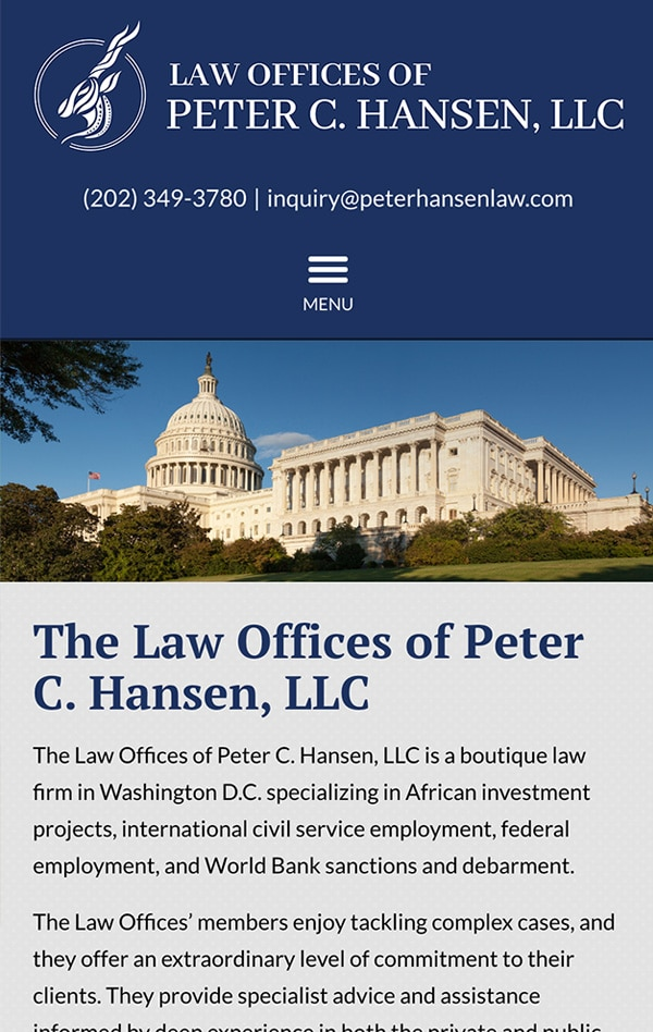 Mobile Friendly Law Firm Webiste for Law Offices of Peter C. Hansen, LLC