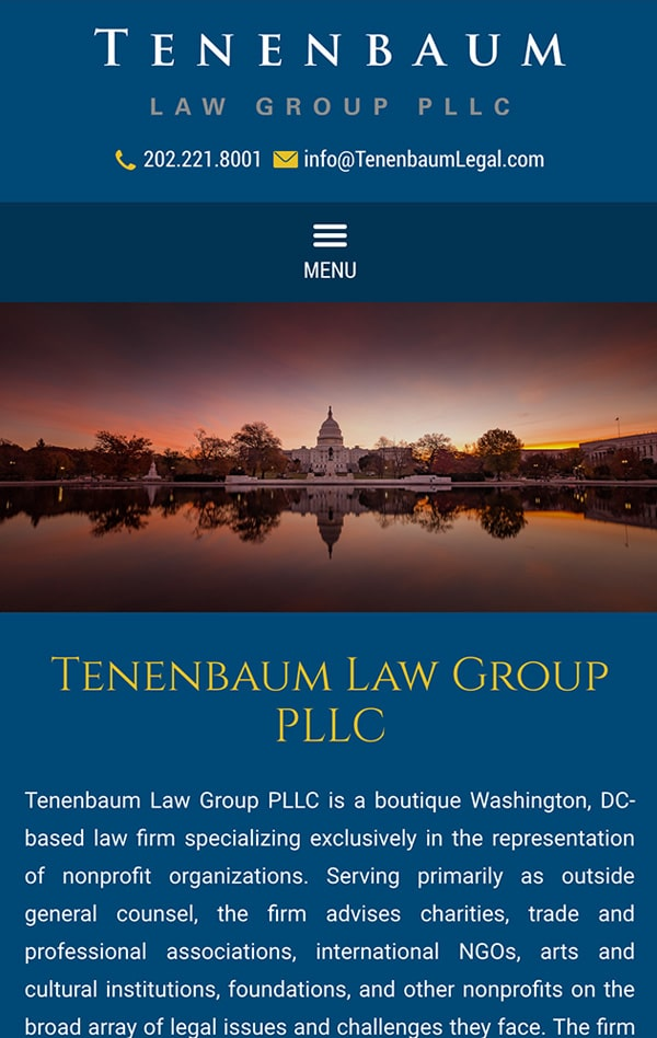 Mobile Friendly Law Firm Webiste for Tenenbaum Law Group PLLC