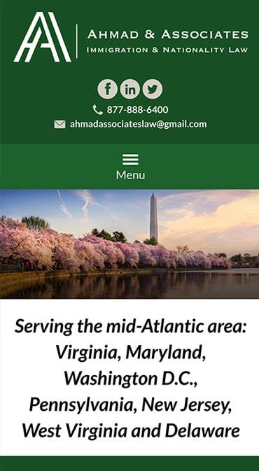 Responsive Mobile Attorney Website for Ahmad & Associates
