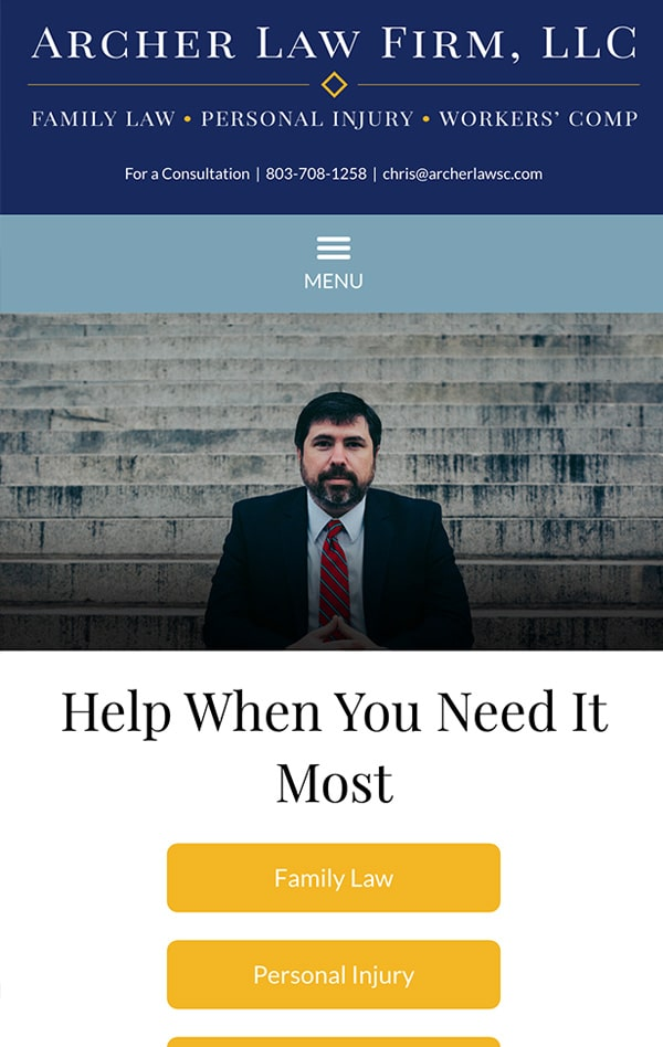 Mobile Friendly Law Firm Webiste for Archer Law Firm, LLC
