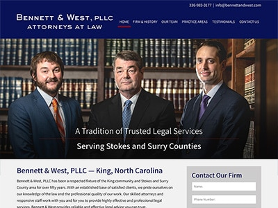 Law Firm Website design for Bennett & West, PLLC