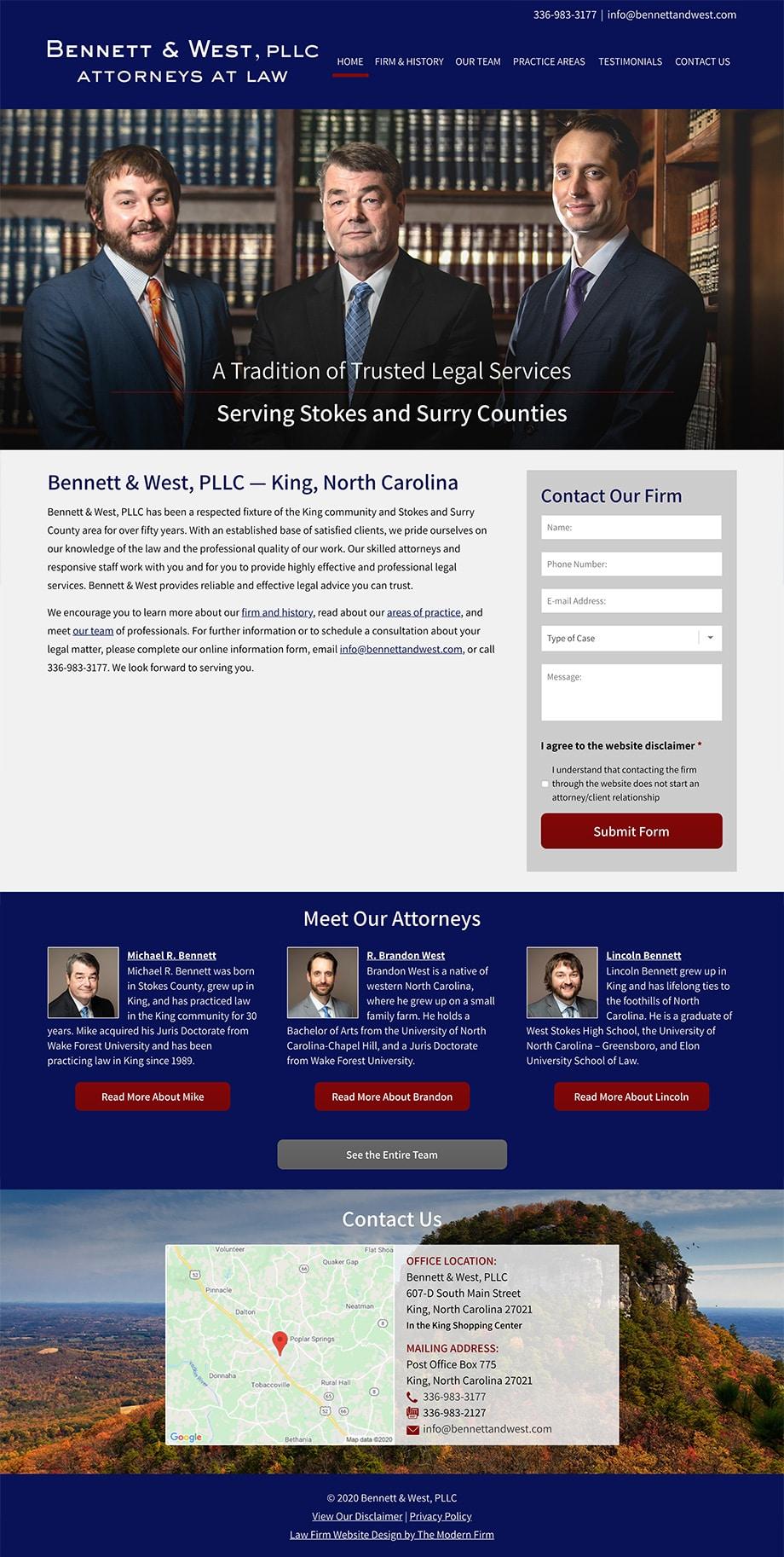 Law Firm Website Design for Bennett & West, PLLC