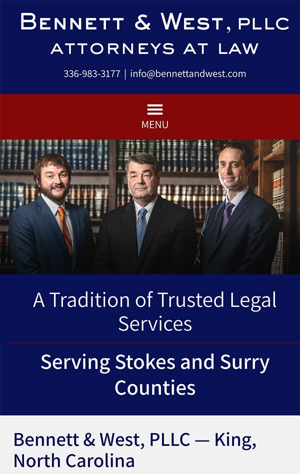 Mobile Friendly Law Firm Webiste for Bennett & West, PLLC