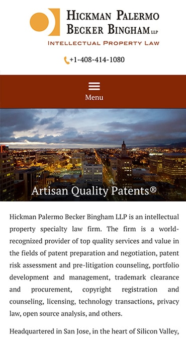 Responsive Mobile Attorney Website for Hickman Palermo Becker Bingham LLP