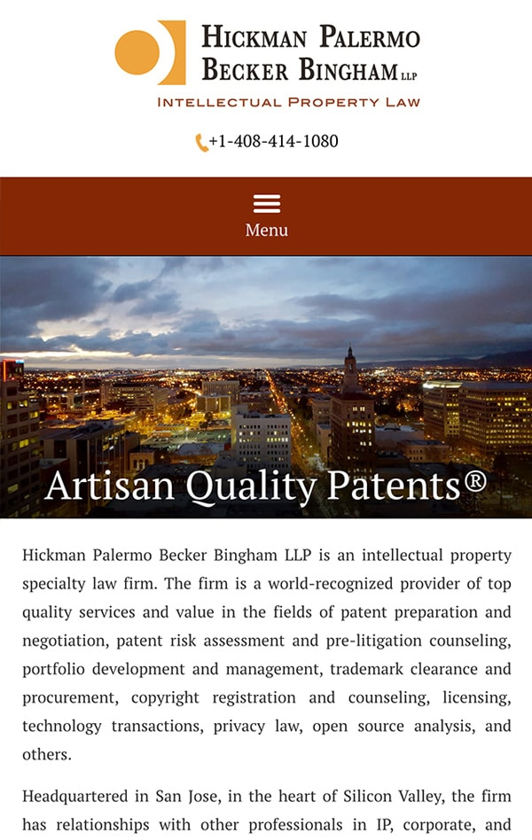 Mobile Friendly Law Firm Webiste for Hickman Palermo Becker Bingham LLP