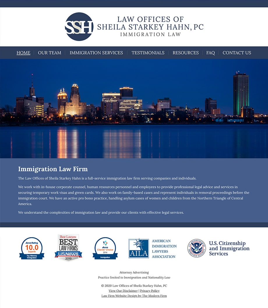 Law Firm Website Design for Law Offices of Sheila Starkey Hahn, PC