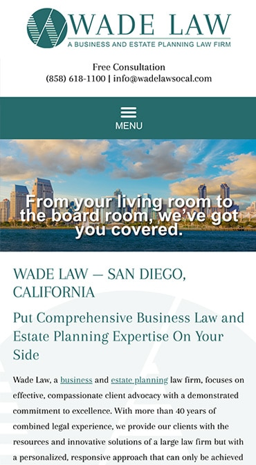 Responsive Mobile Attorney Website for Wade Law