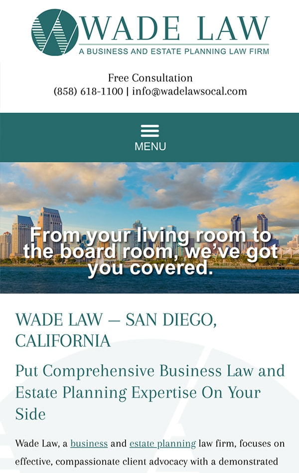 Mobile Friendly Law Firm Webiste for Wade Law