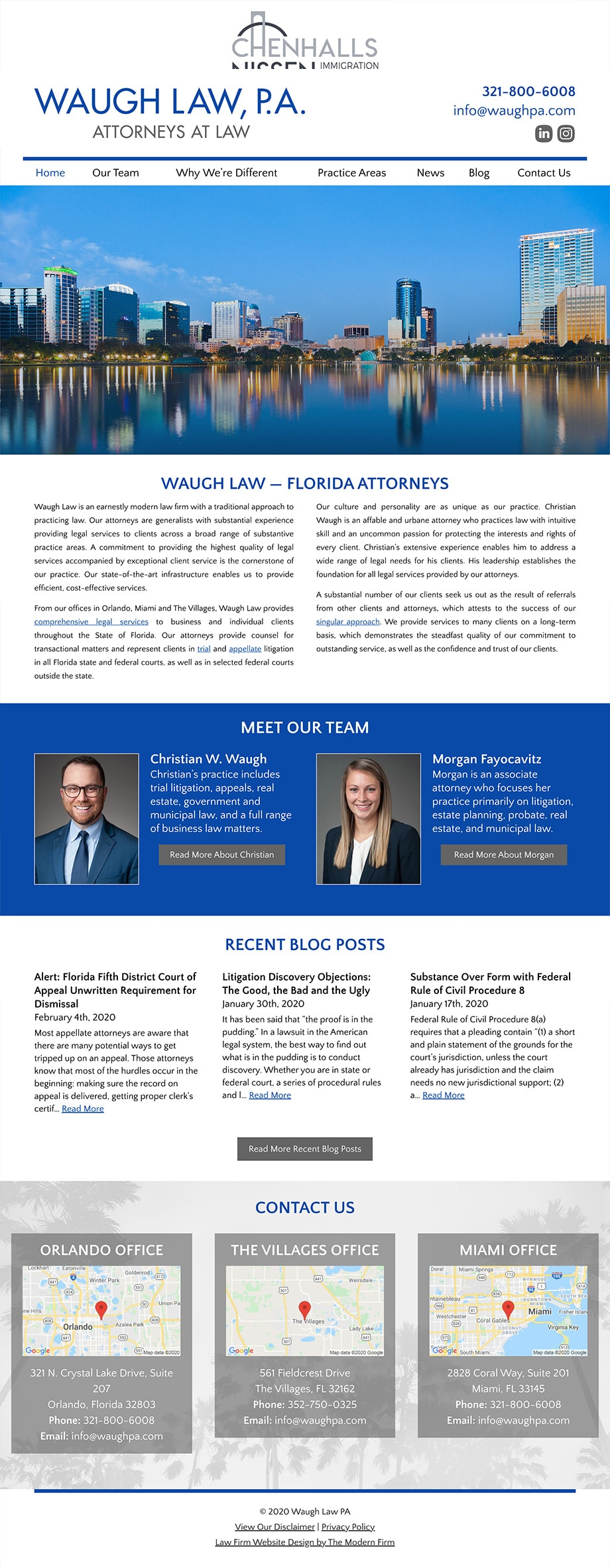Law Firm Website Design for Waugh Law PA