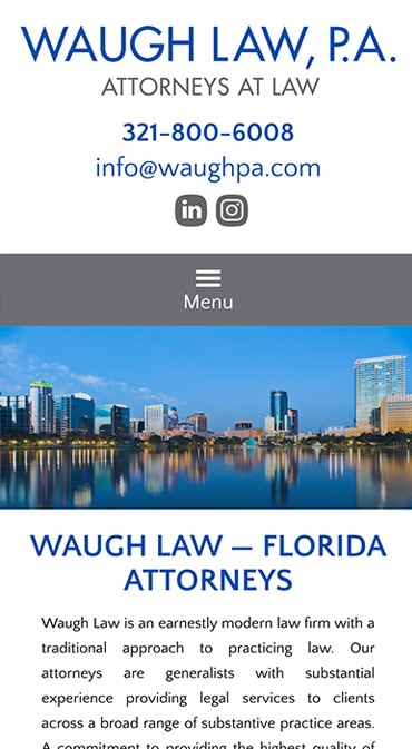 Responsive Mobile Attorney Website for Waugh Law PA