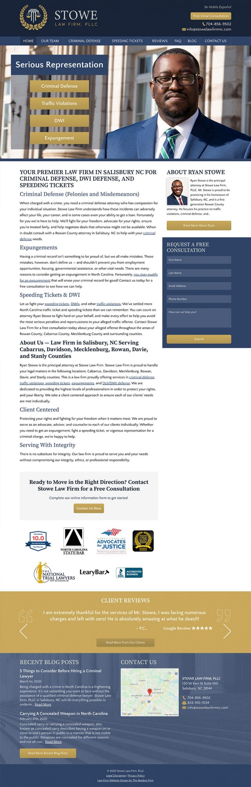 Law Firm Website for Stowe Law Firm, PLLC