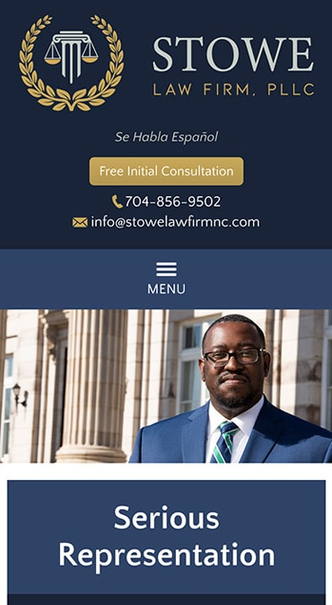 Responsive Mobile Attorney Website for Stowe Law Firm, PLLC