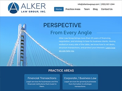 Law Firm Website design for Alker Law Group, Inc.