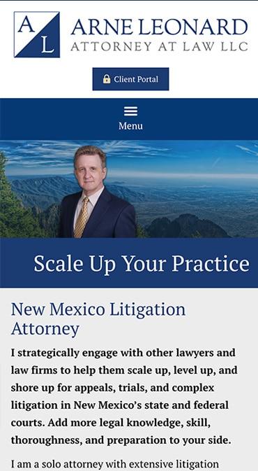 Responsive Mobile Attorney Website for Arne R. Leonard