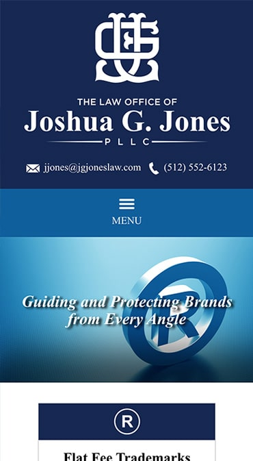 Responsive Mobile Attorney Website for The Law Office of Joshua G. Jones PLLC