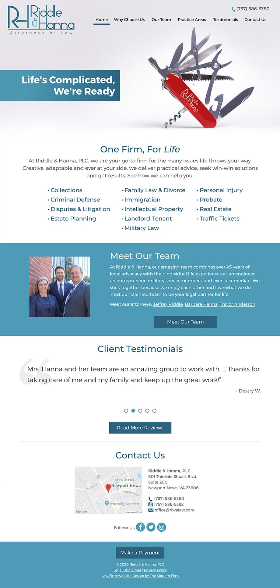 Law Firm Website Design for Riddle & Hanna, PLC