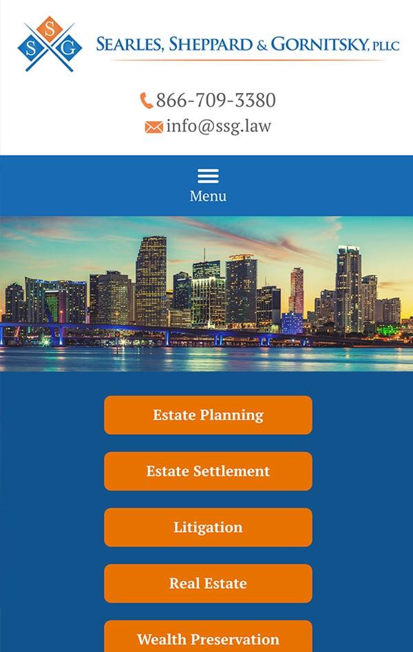 Mobile Friendly Law Firm Webiste for Searles Sheppard & Gornitsky, PLLC