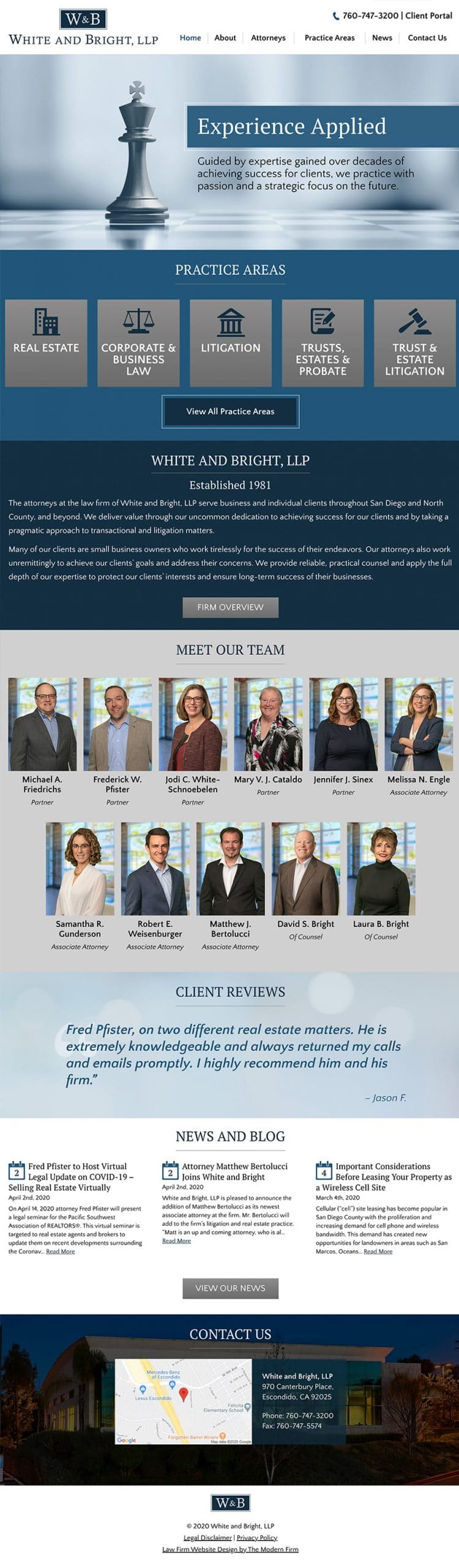 Law Firm Website for White and Bright, LLP