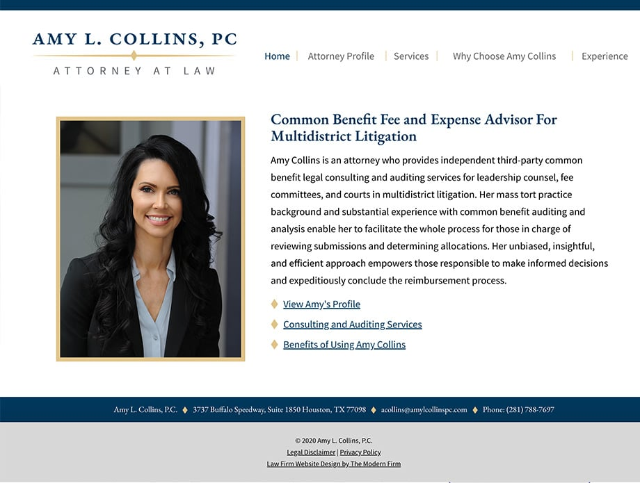 Law Firm Website Design for Amy L. Collins, P.C.