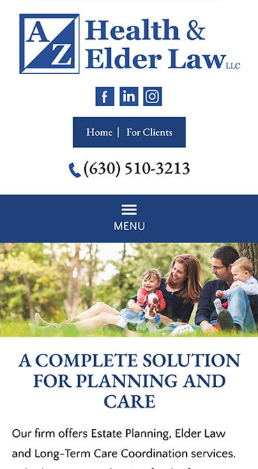 Responsive Mobile Attorney Website for A/Z Health & Elder Law LLC