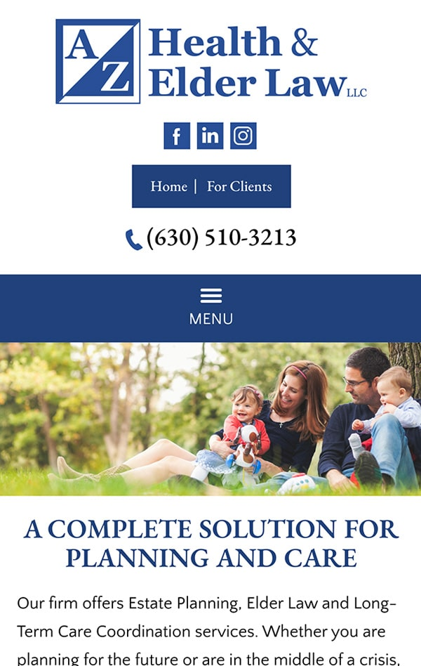 Mobile Friendly Law Firm Webiste for A/Z Health & Elder Law LLC