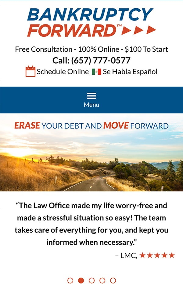 Mobile Friendly Law Firm Webiste for Bankruptcy Forward