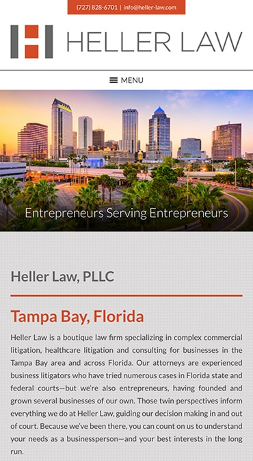 Responsive Mobile Attorney Website for Heller Law, PLLC