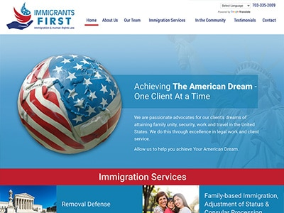 Law Firm Website design for Immigrants First, PLLC