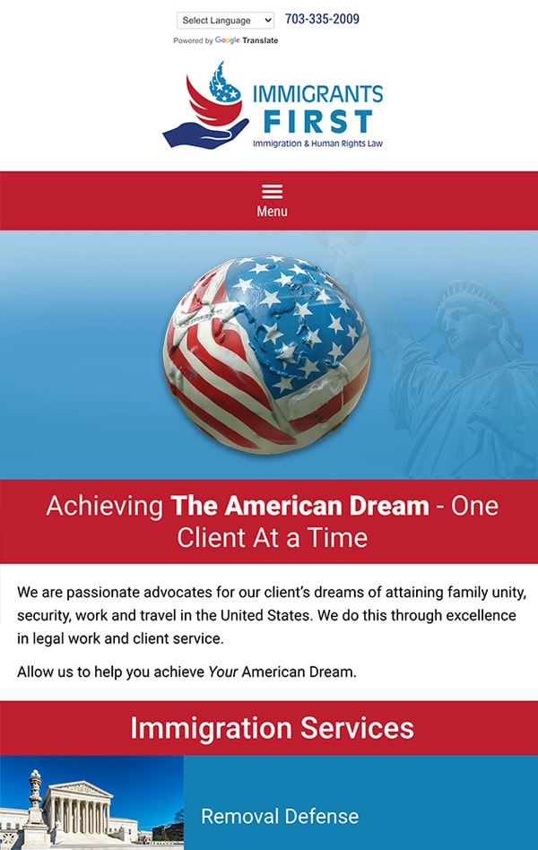 Mobile Friendly Law Firm Webiste for Immigrants First, PLLC