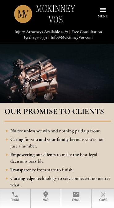 Responsive Mobile Attorney Website for McKinney Vos PLLC