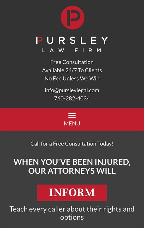 Mobile Friendly Law Firm Webiste for Pursley Law Firm