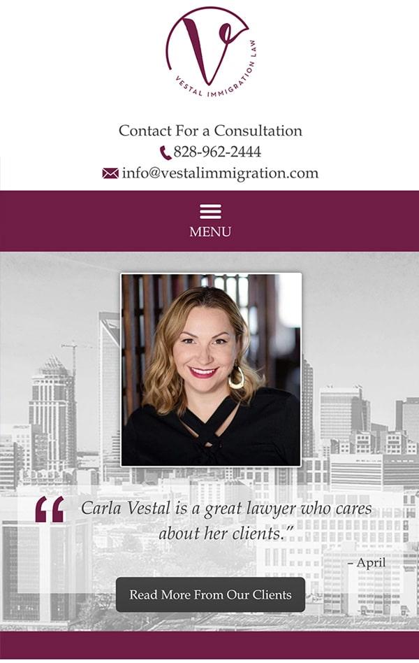 Mobile Friendly Law Firm Webiste for Vestal Immigration Law