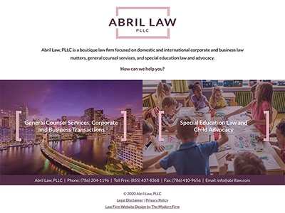 Law Firm Website design for Abril Law, PLLC