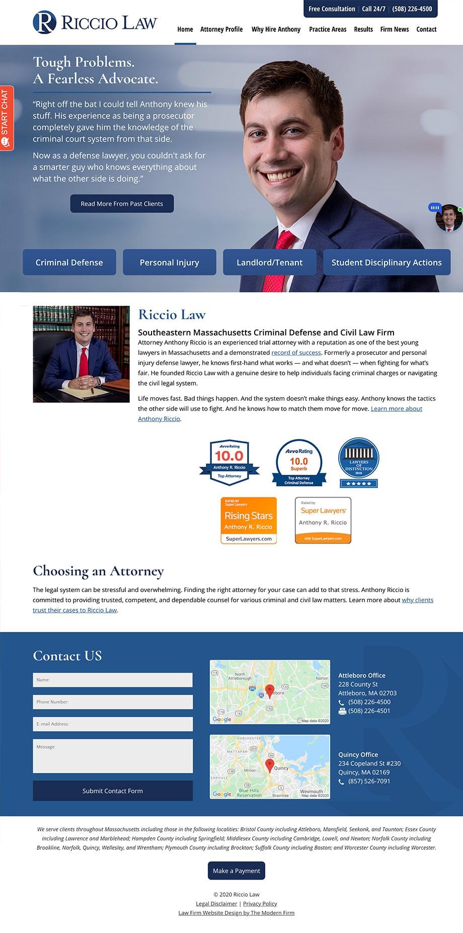 Law Firm Website Design for Riccio Law