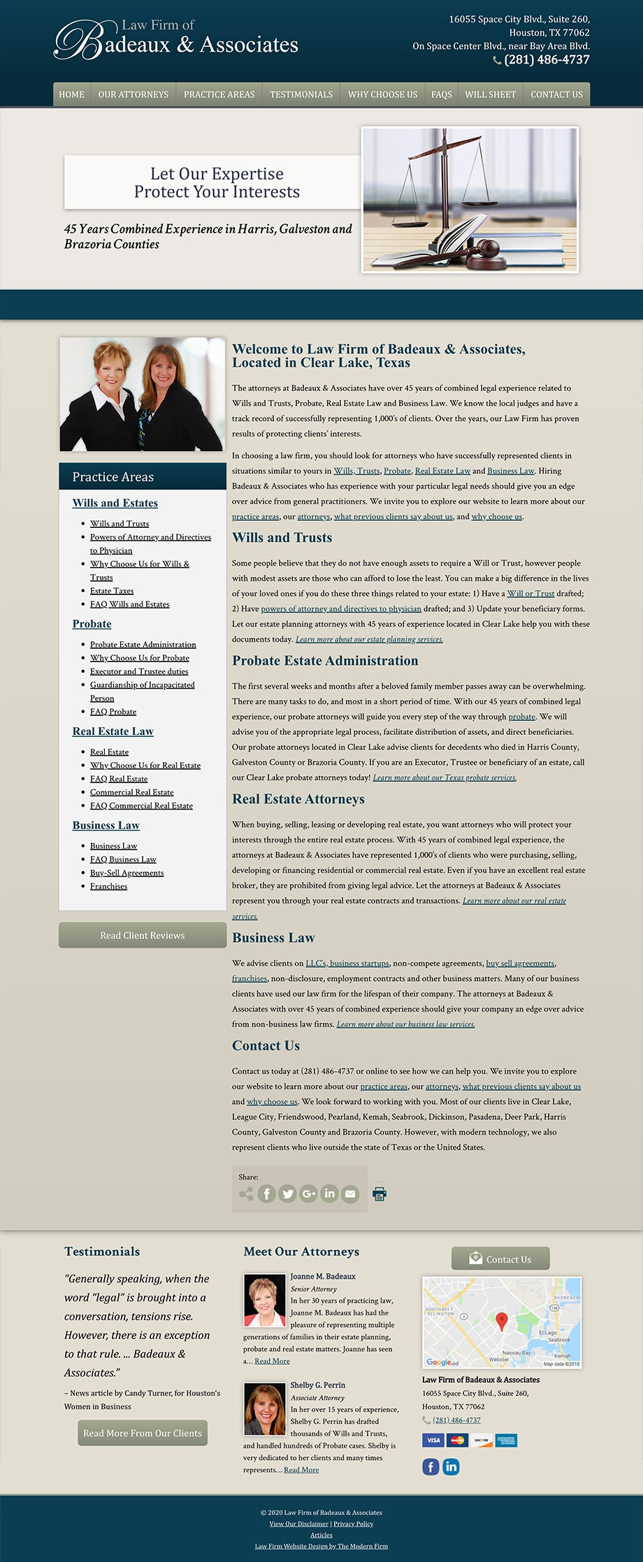 Law Firm Website Design for Law Firm of Badeaux & Associates