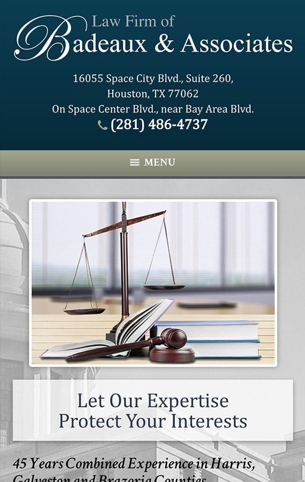Mobile Friendly Law Firm Webiste for Law Firm of Badeaux & Associates