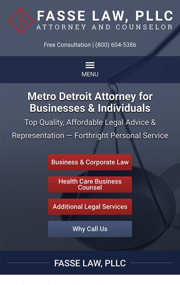 Mobile Friendly Law Firm Webiste for Fasse Law, PLLC