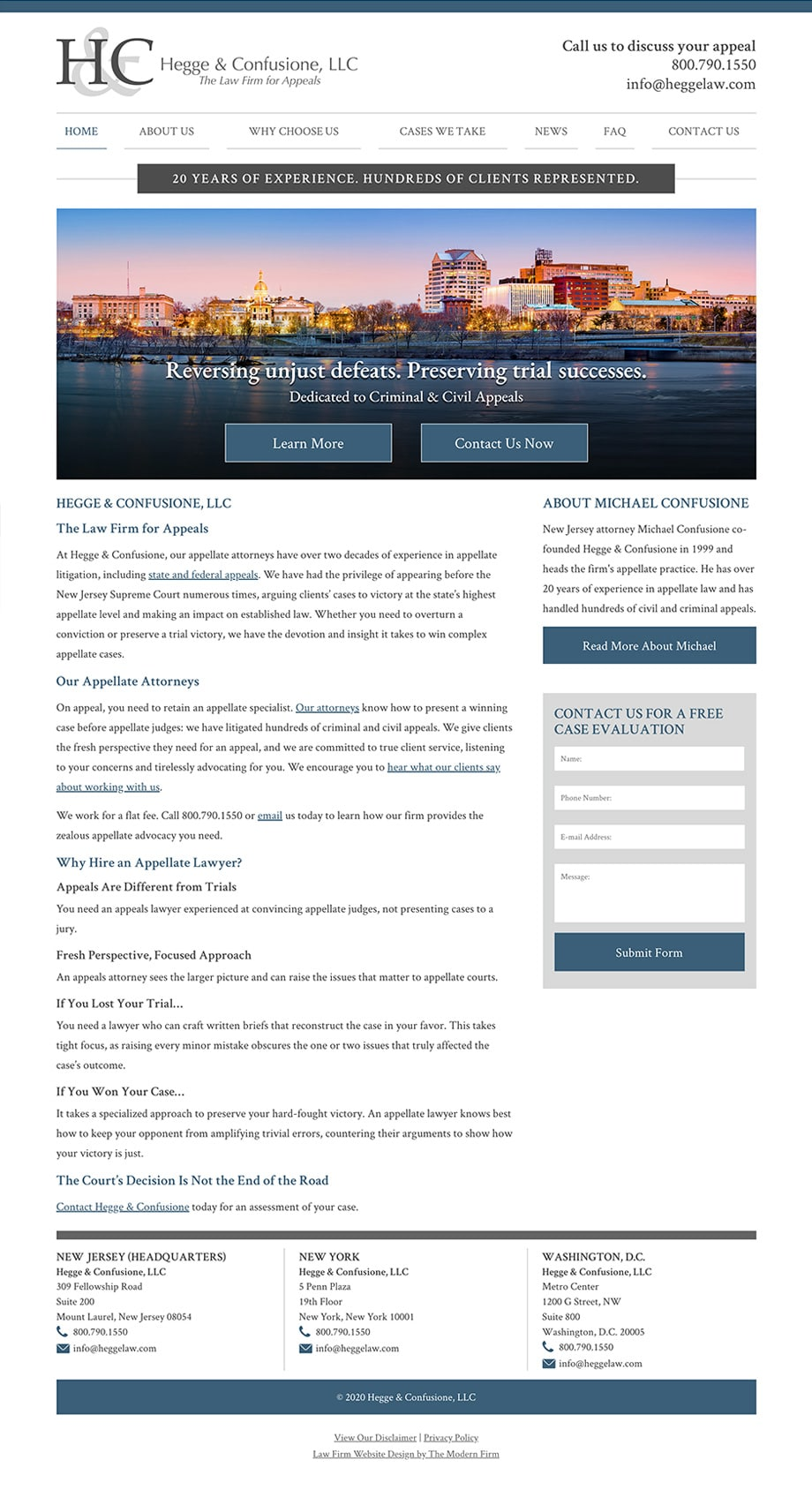 Law Firm Website Design for Hegge & Confusione, LLC